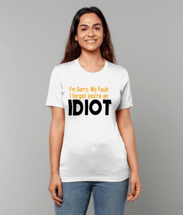 Canvas Unisex Crew Neck T-Shirt idiot idiot