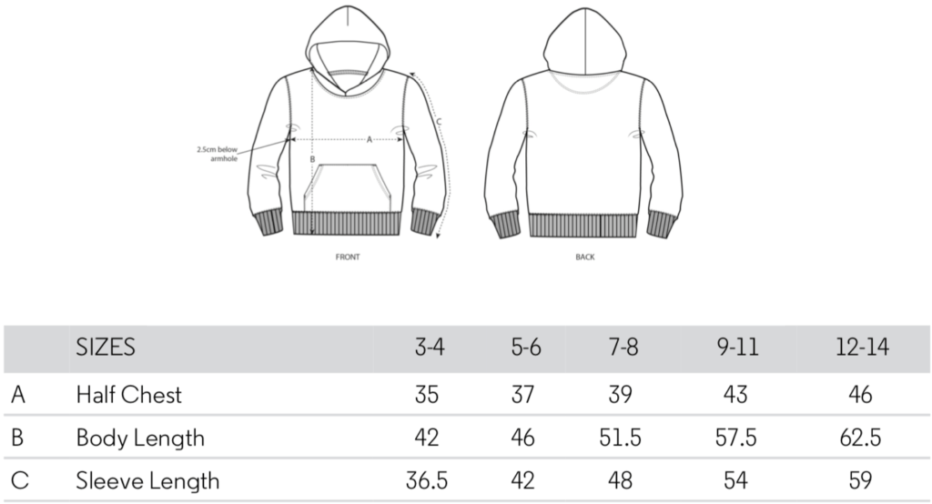 Hoodie size guide