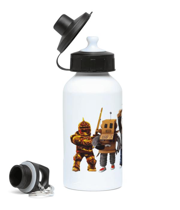 Redcliffe elite manager, Mr robot, Builderman, Noob, Ezebel the Pirate Queen 400ml Water Bottle Builderman