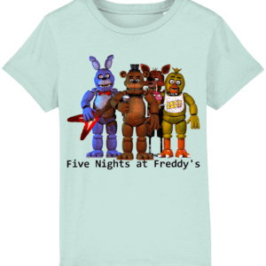 Five nights gang of Toy barnie, Fasbear, Foxy and Funtime Chica child's t-shirt