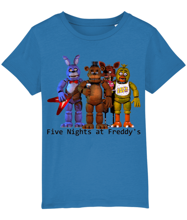 Five nights gang of Toy barnie, Fasbear, Foxy and Funtime Chica child's t-shirt fasbear