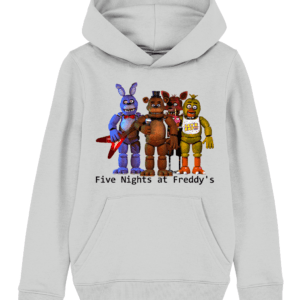 Five nights gang of Toy barnie, Fasbear, Foxy and Funtime Chica child's hoodie