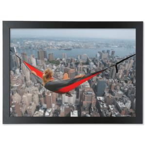 Framed A3 Fine Art Print – Landscape/Black girl-in a hammock up high