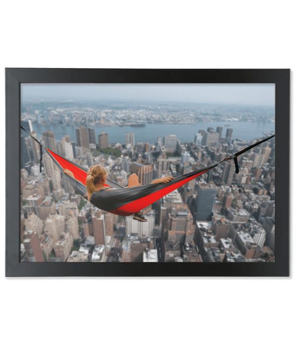 Framed A3 Fine Art Print – Landscape/Black girl-in a hammock up high girl