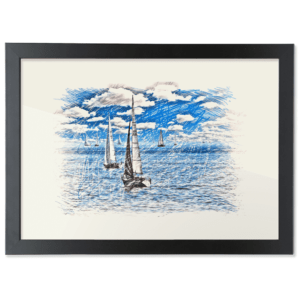 Framed A3 Fine Art Print – Landscape/Black sailing-boat