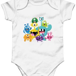 The little monsters Organic Short Sleeve Baby Bodysuit