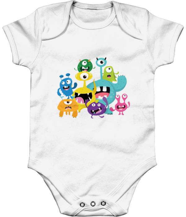 The little monsters Organic Short Sleeve Baby Bodysuit little monsters