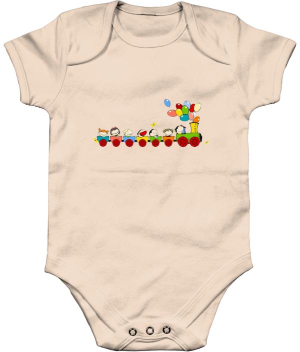 The little train Organic Short Sleeve Baby Bodysuit The little train